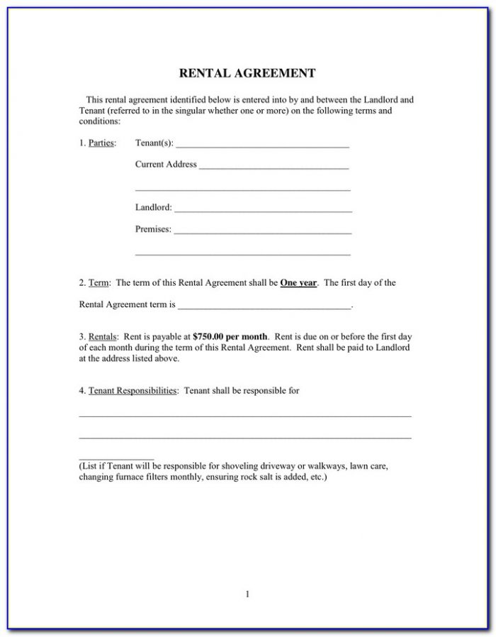 Simple One Page Rental Agreement Form