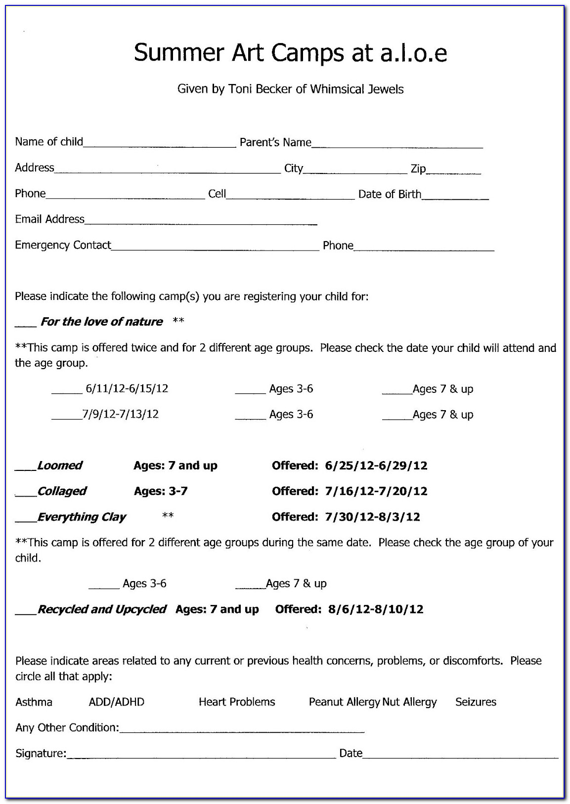 Soccer Camp Registration Form Template