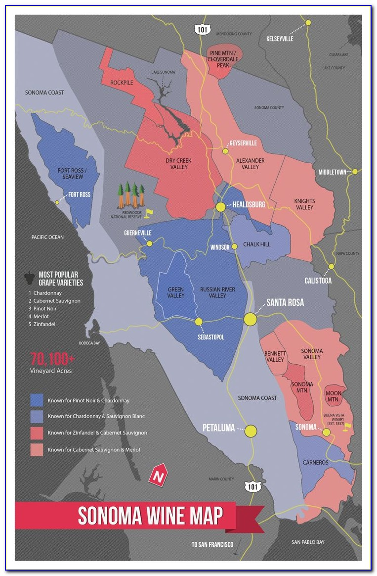 Sonoma County Winery Map Poster