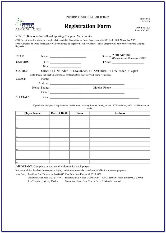 Sport Event Registration Form Template