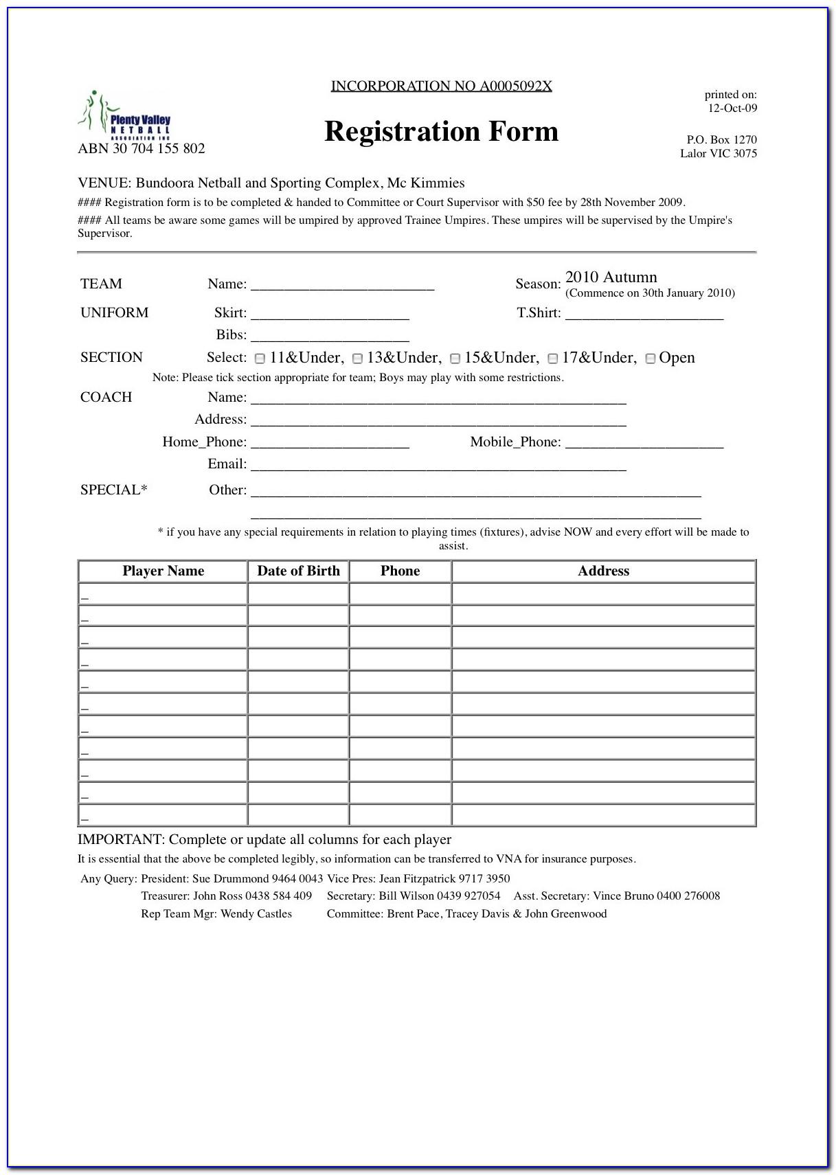 Sport Event Registration Form Template