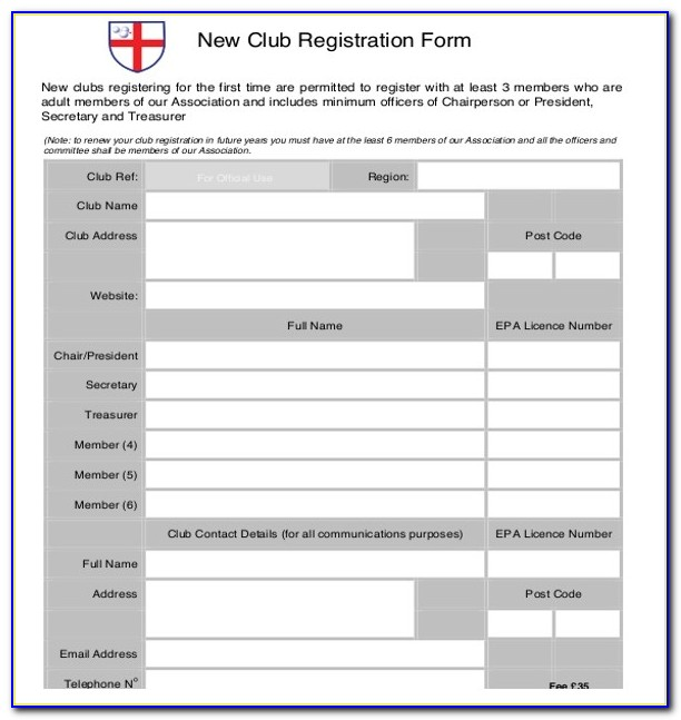 Sport Registration Form Template Word