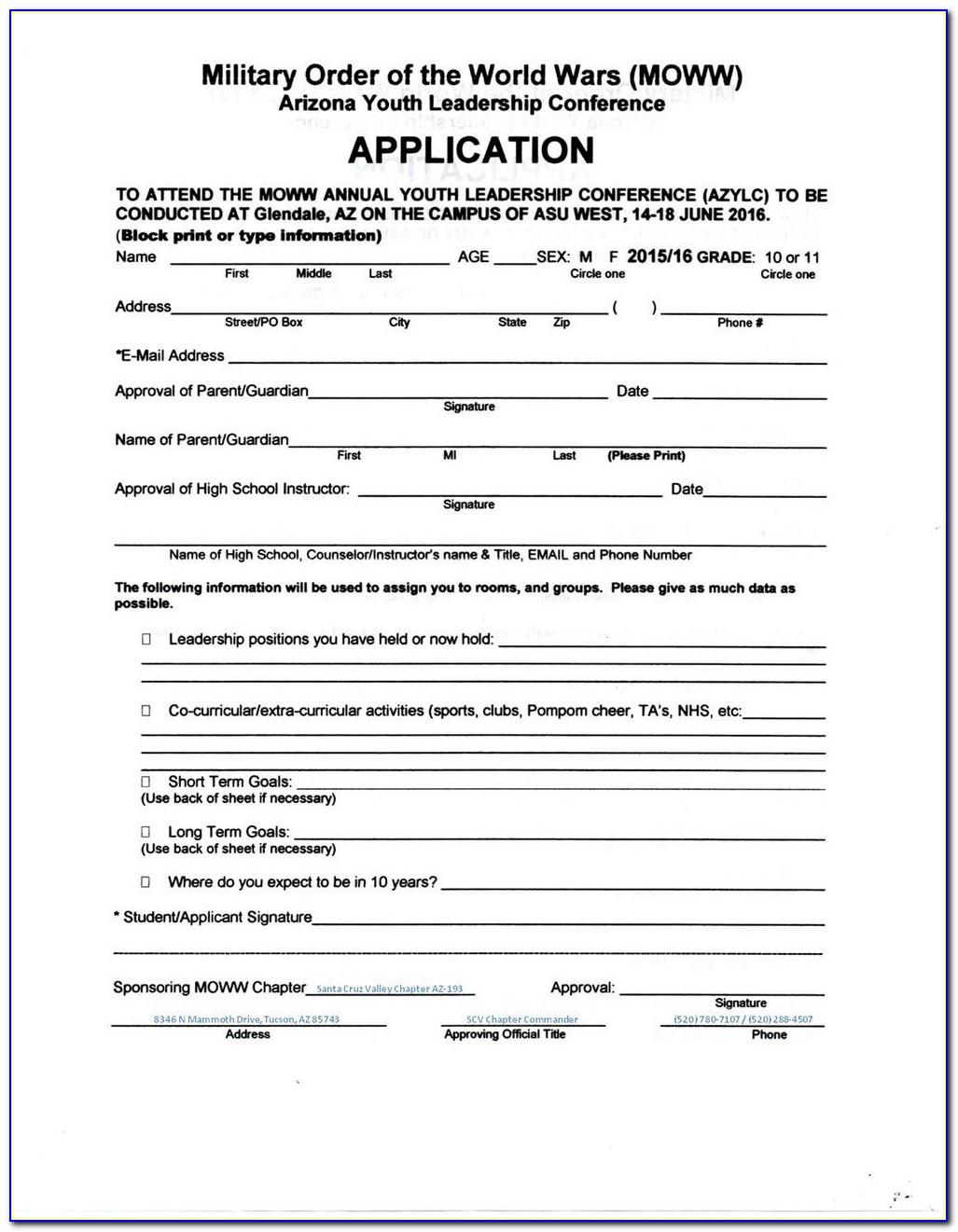 Sports Club Registration Form Template