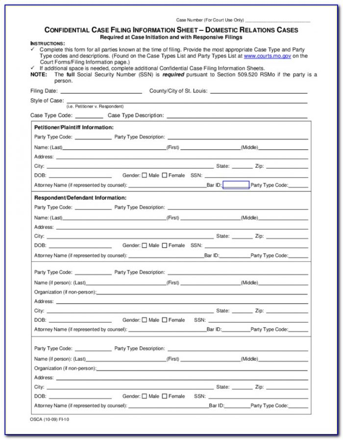 St Louis County Divorce Paperwork