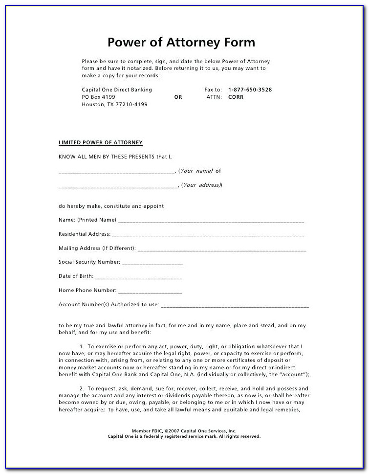 Standard Power Of Attorney Form Florida