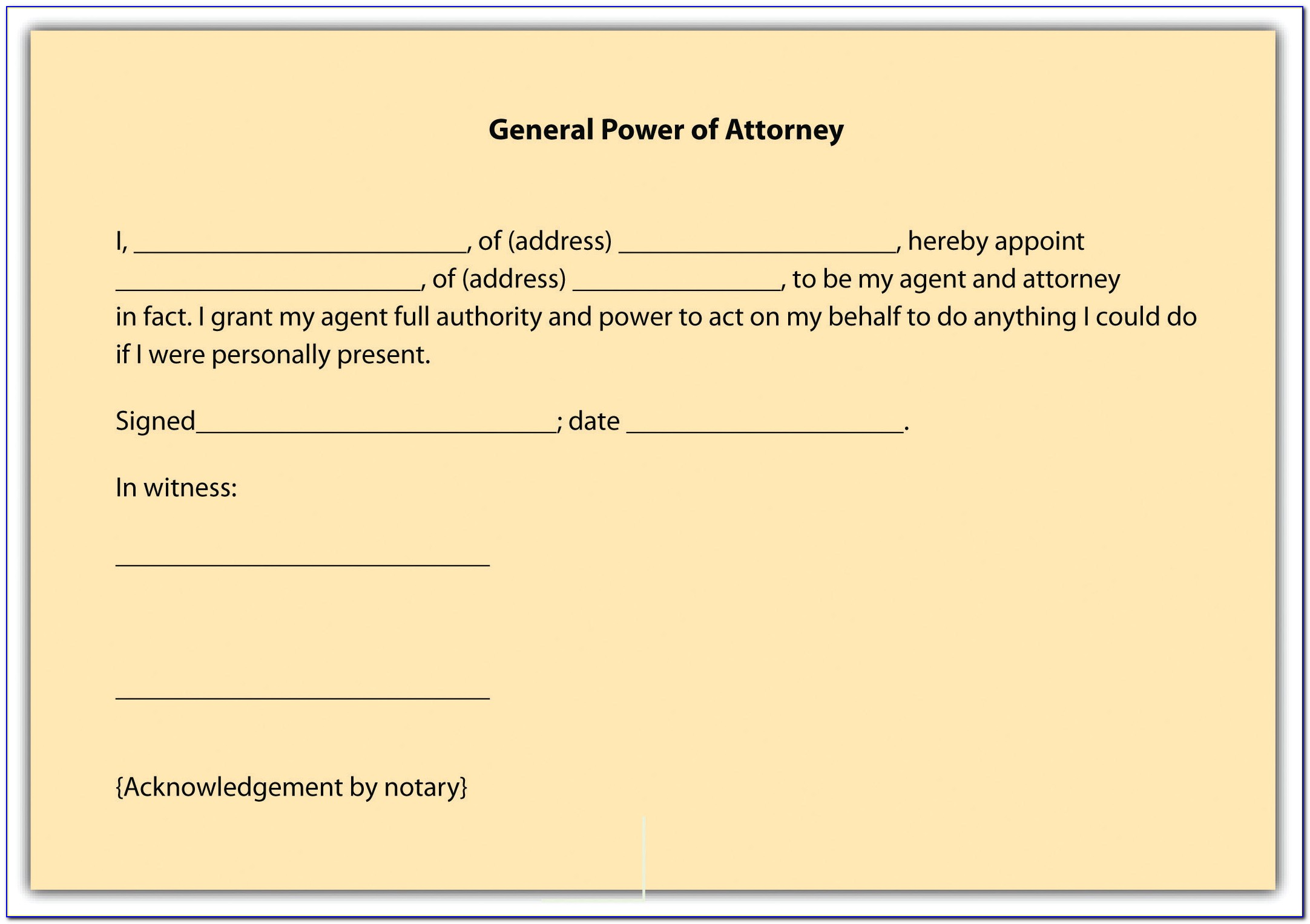 Standard Power Of Attorney Form Maryland