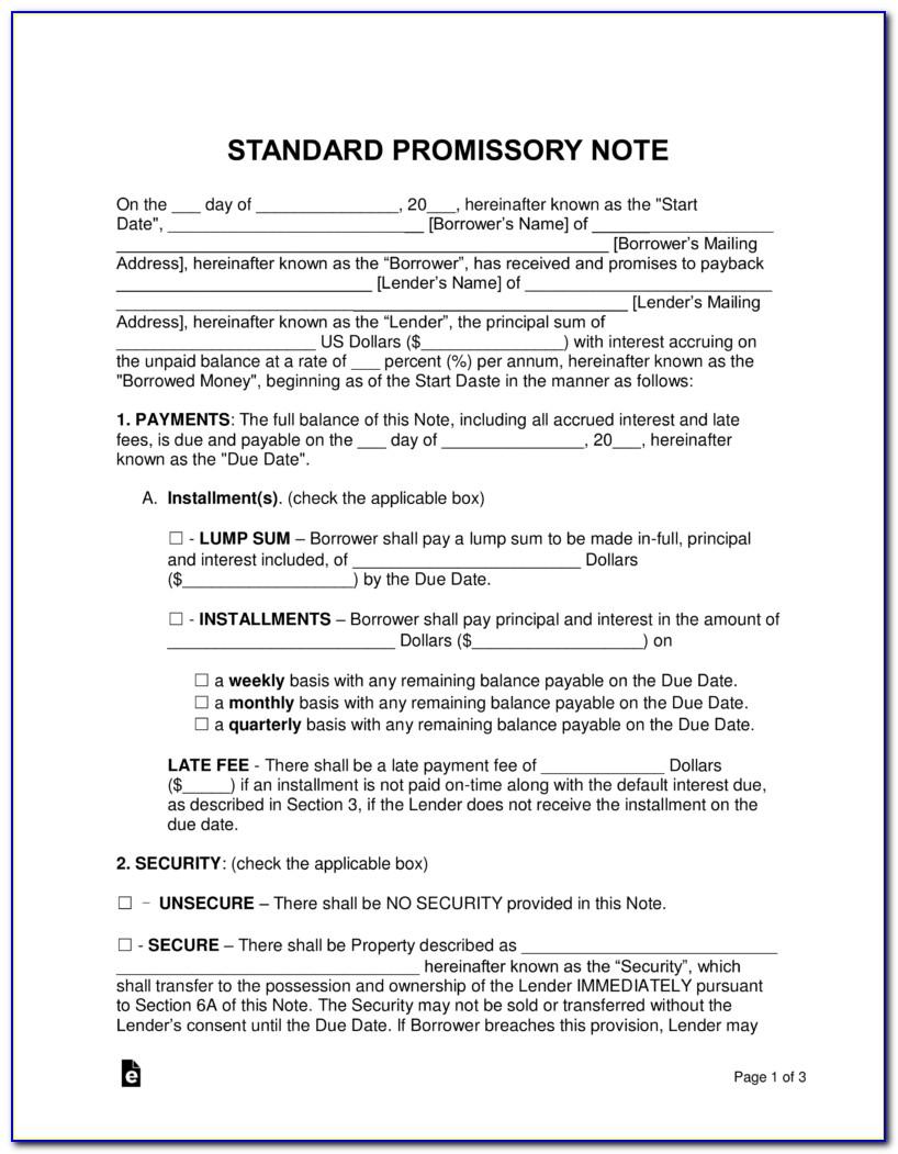 Standard Promissory Note Form Free