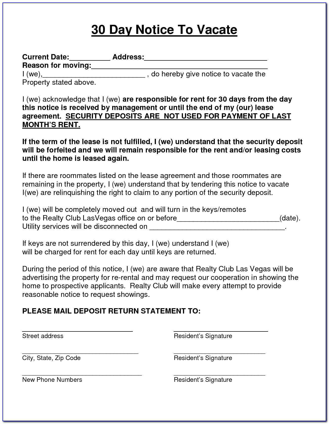State Of Texas Notice To Vacate Form
