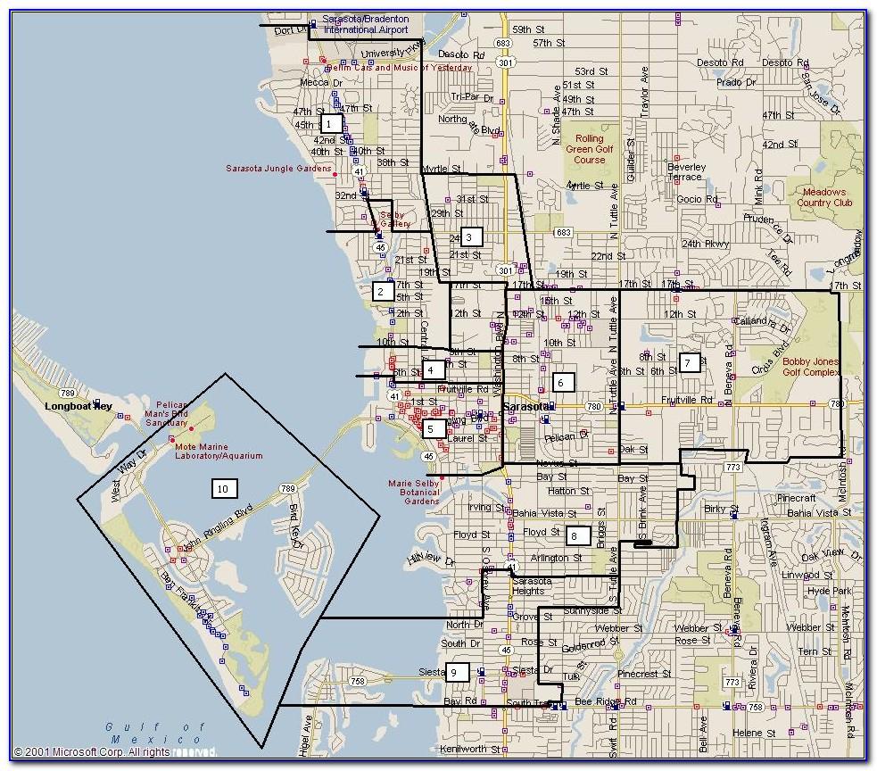 Street Map Of Downtown Sarasota Fl