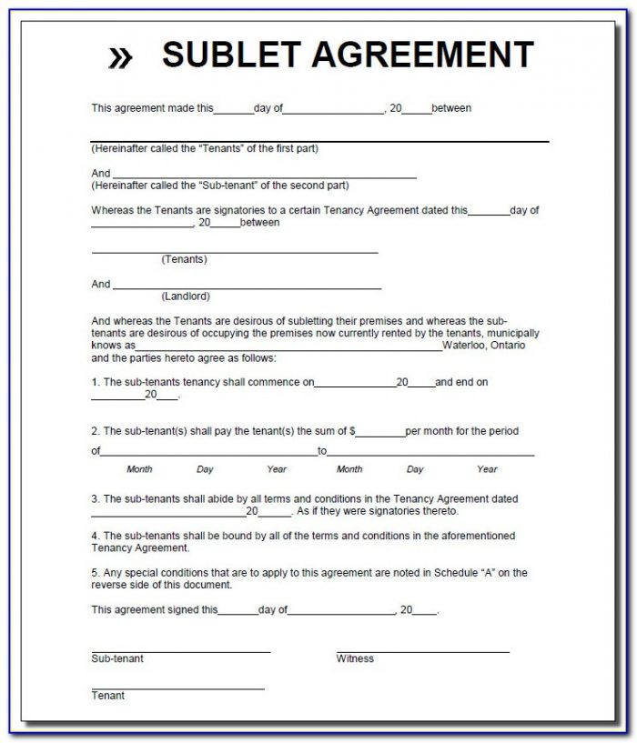 Sublease Room Rental Agreement Form