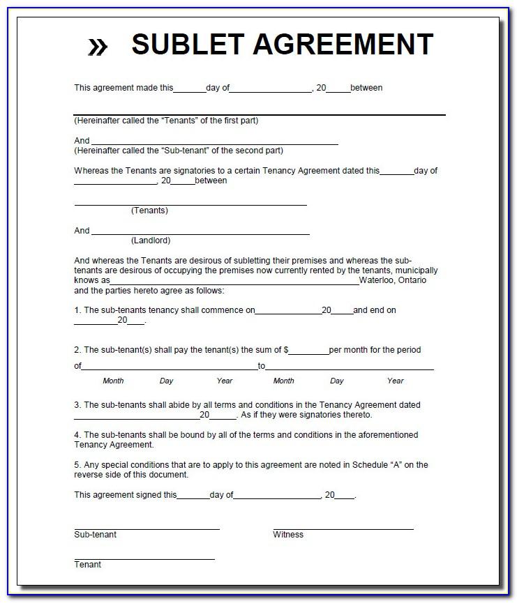 Sublease Room Rental Agreement Form
