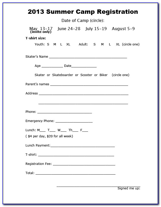 Summer Day Camp Registration Form Template
