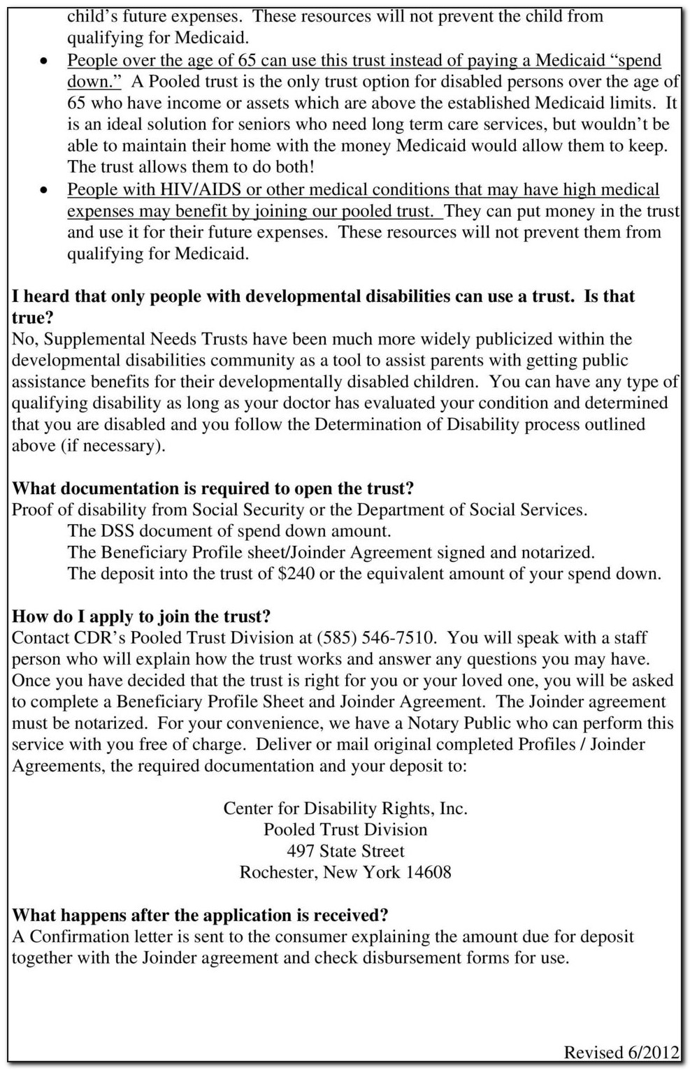 Supplemental Needs Trust Form New York