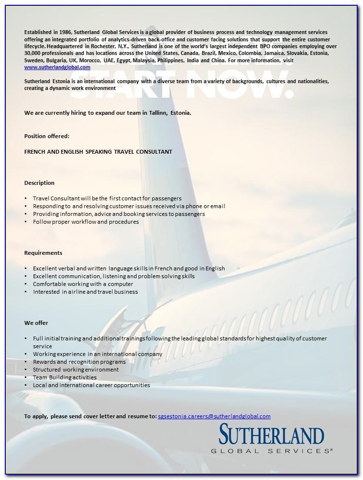 Sutherland Global Services Application Letter
