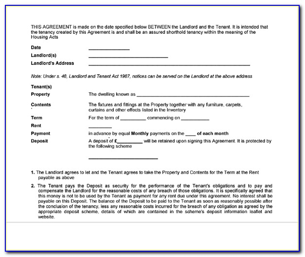 Tenancy Agreement Form Free Download Pdf