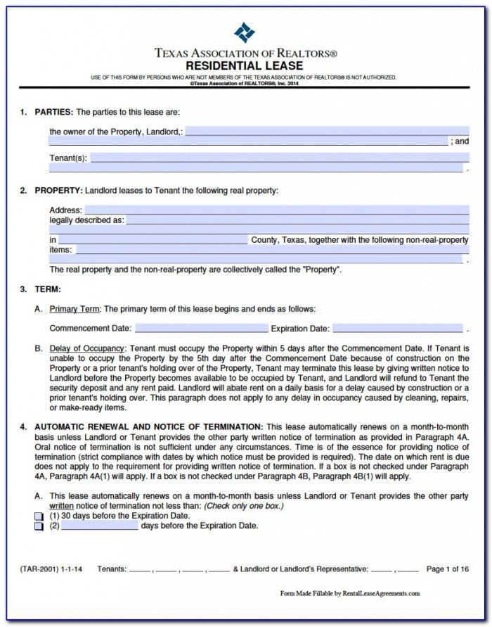 Texas Landlord Forms