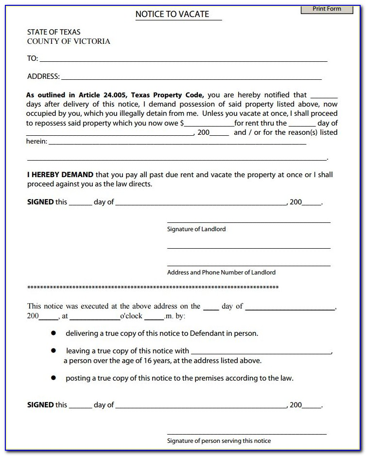 Texas Notice To Vacate Form