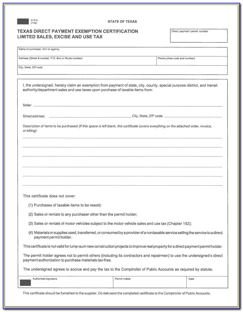 Texas Resale Tax Id Form