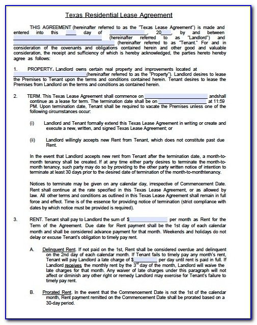 Free Texas Standard Residential Lease Agreement Form – Pdf Template Pertaining To Apartment Lease Agreement Template
