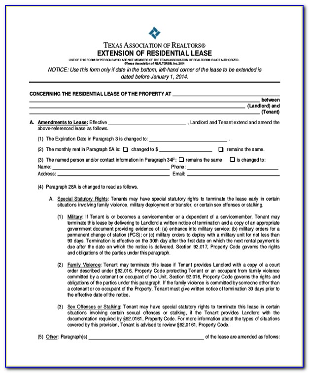Texas Residential Lease Agreement Extension Form