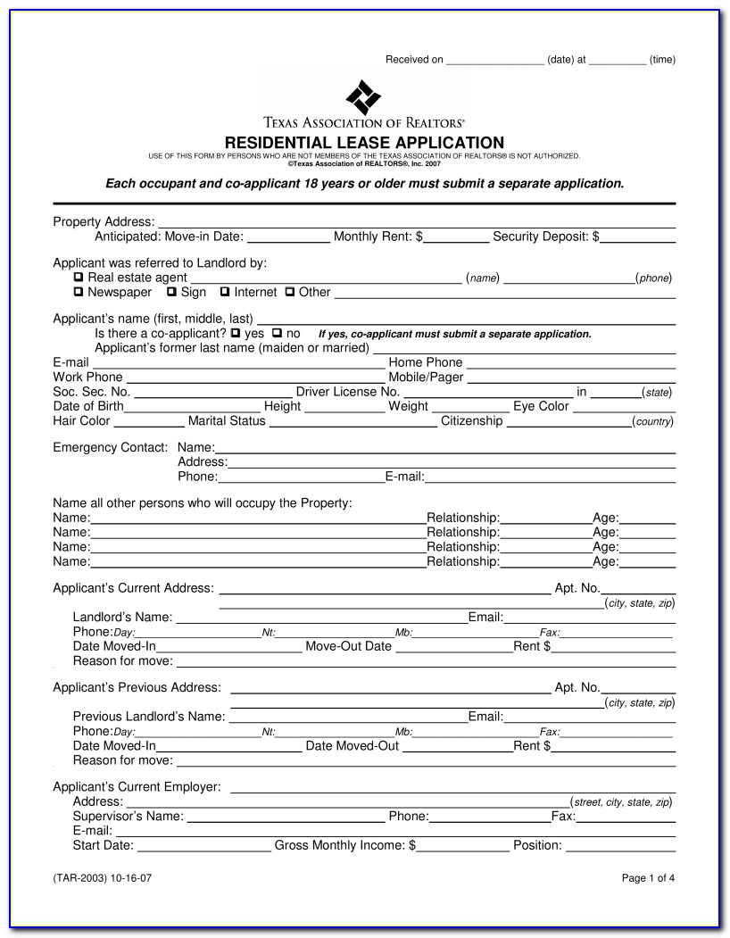 Texas Residential Lease Agreement Form Word