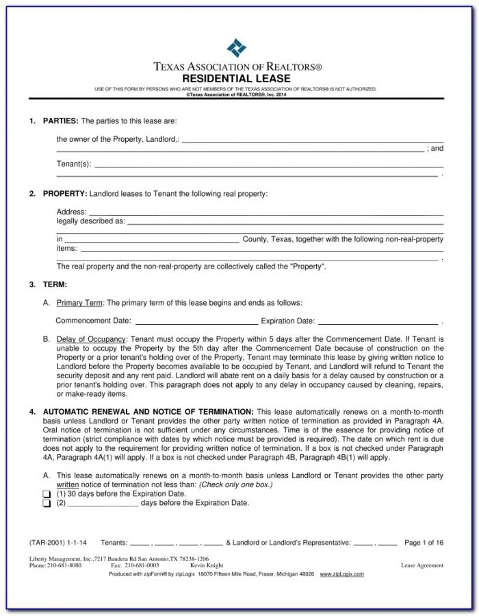 Texas Residential Lease Agreement Short Form