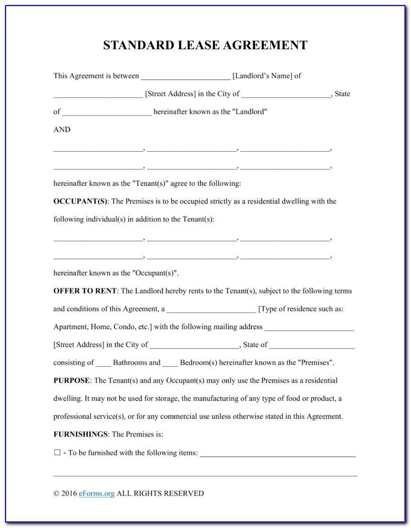 Texas Residential Lease Agreement With Option To Purchase Form
