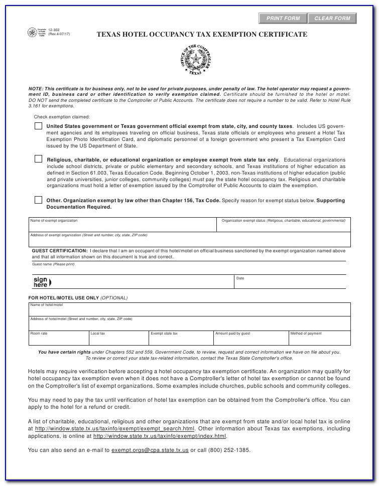 Texas Sales Tax Id Form