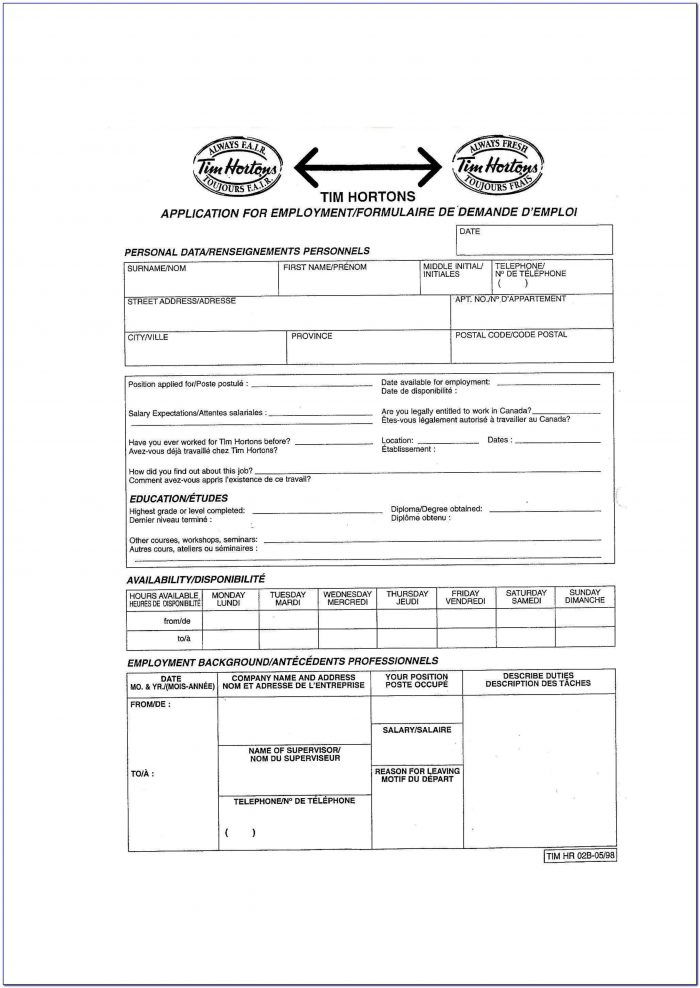 Tim Hortons Application Form Answers