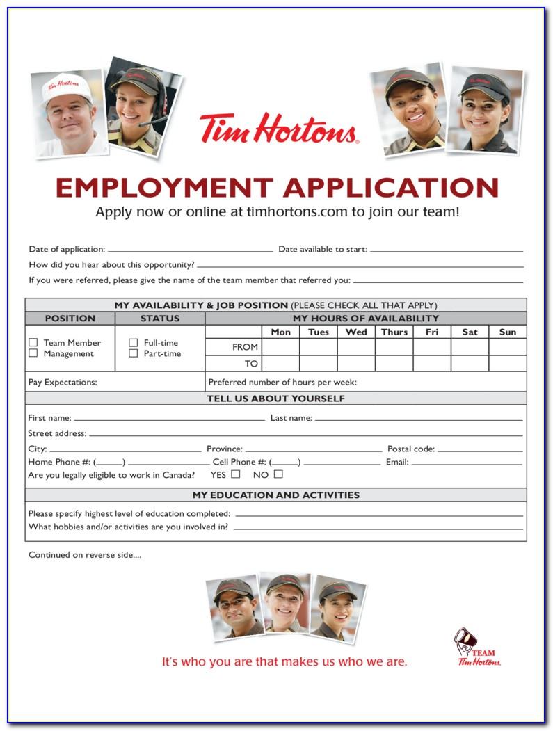 Tim Hortons Application Form Canada Pdf