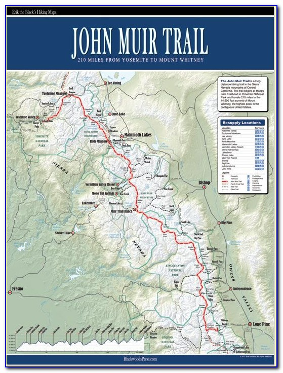 Topo Map Of John Muir Trail