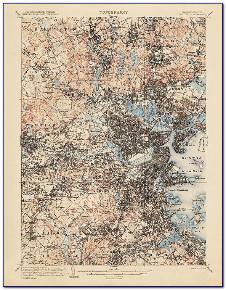 Topographic Map Boston Marathon