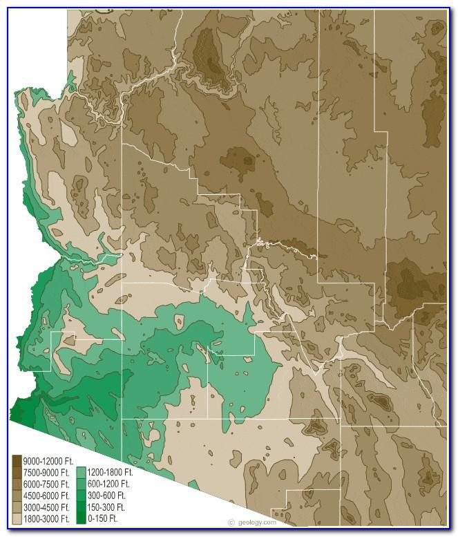 Topographic Map Of Arizona With Cities