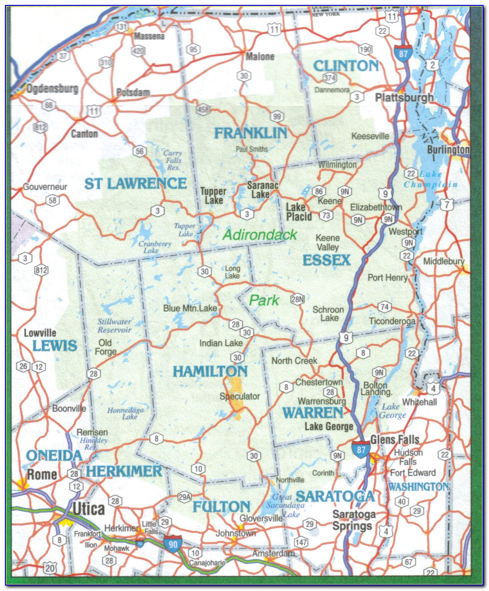 Topographic Map Of The Adirondacks