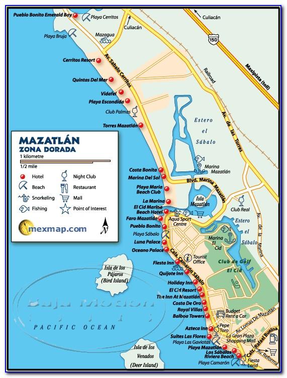 Tourist Map Of Mazatlan Mexico