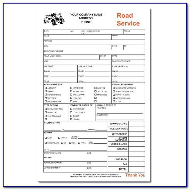 Towing Invoice Example