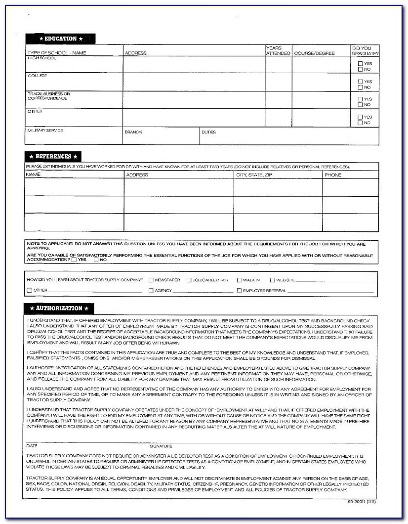 Tractor Supply Jobs Application