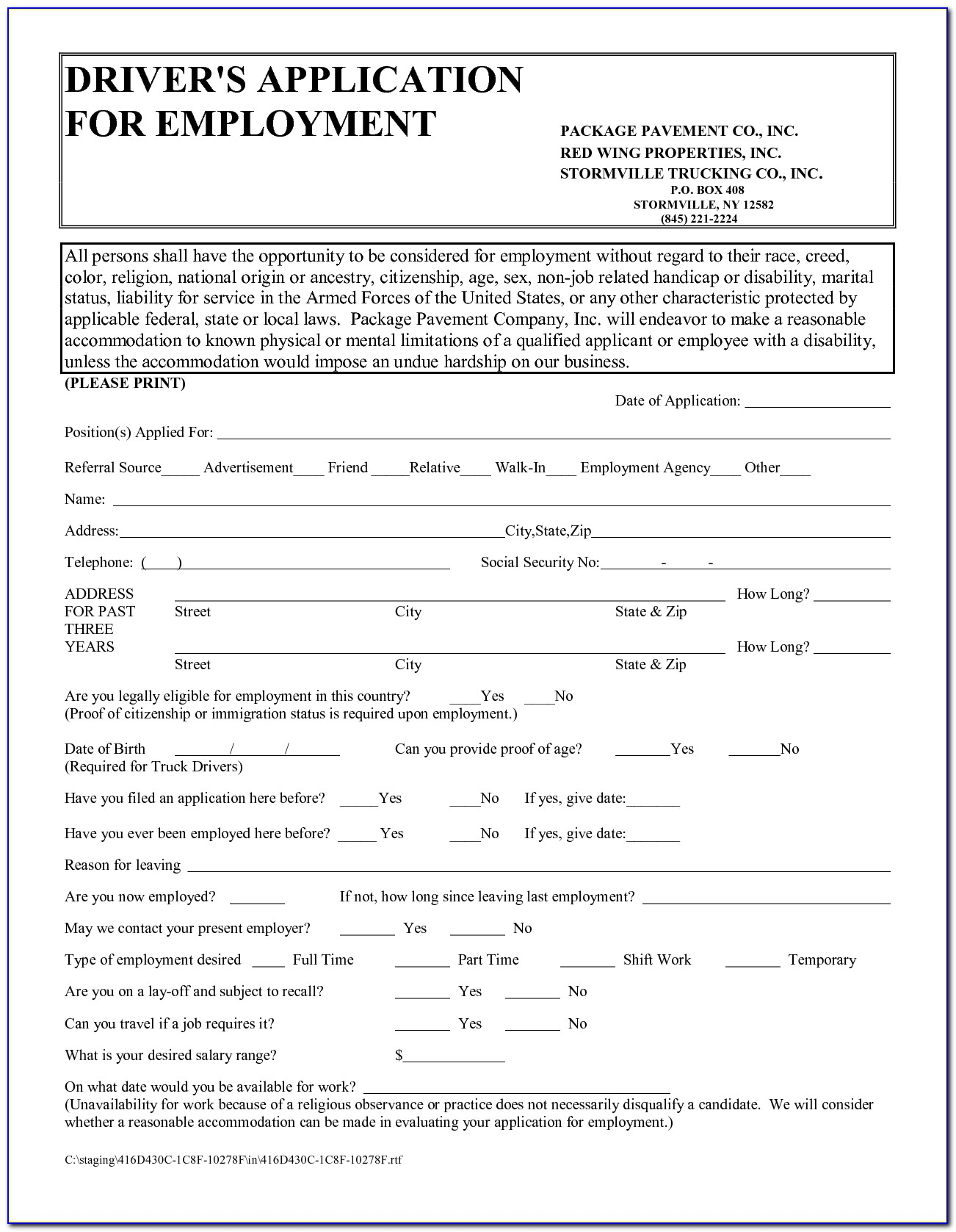 Truck Driver Job Application Form Pdf