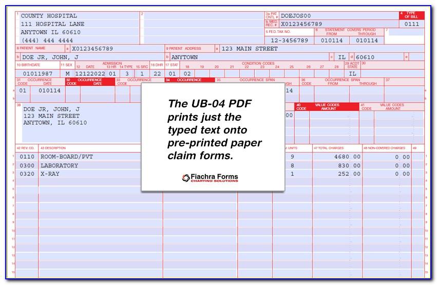 Ub 04 Claim Form Fields
