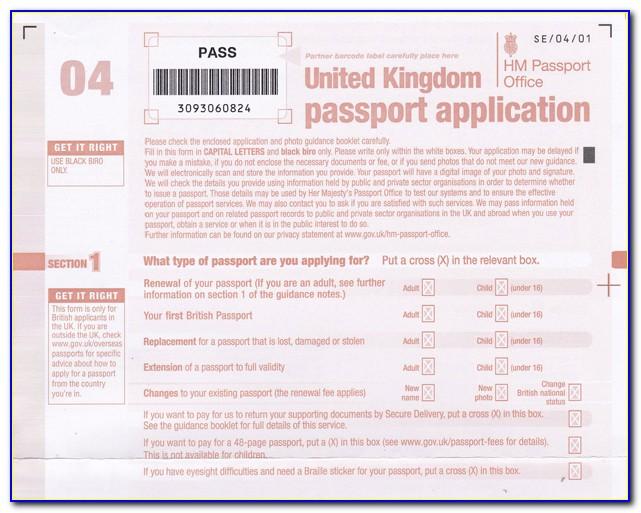 Uk Passport Renewal Form Download Pdf