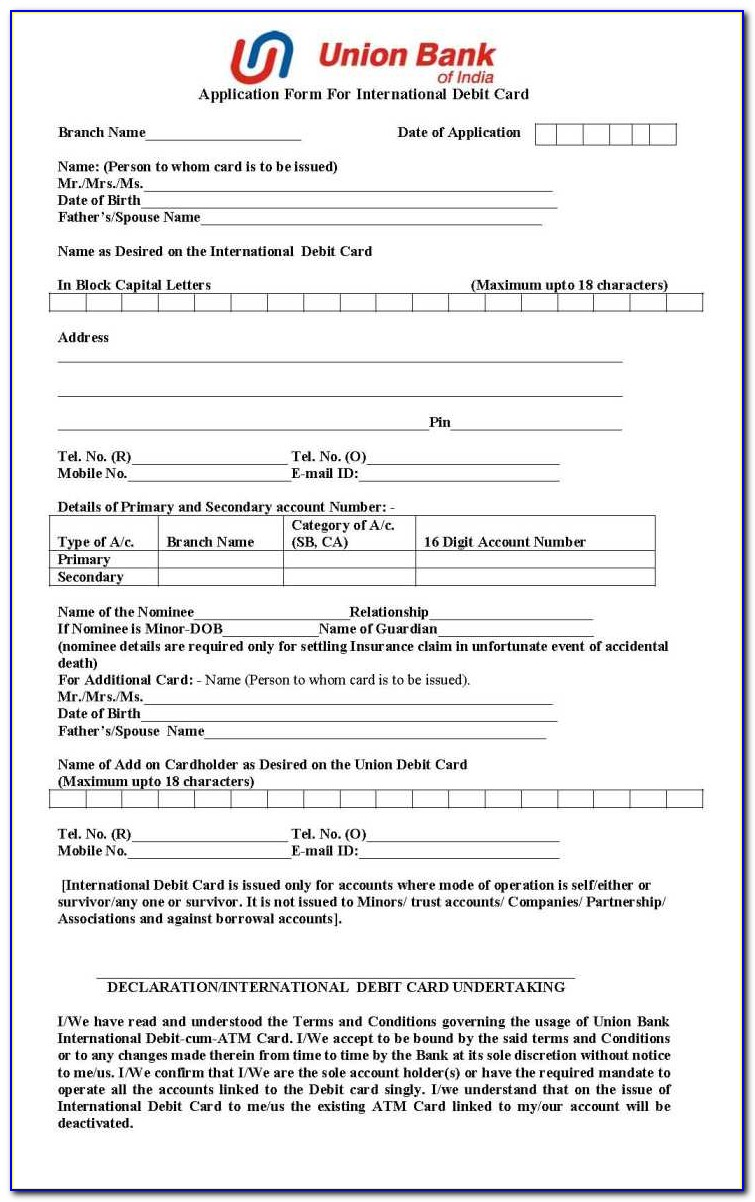 Union Bank Credit Card Application Form Pdf