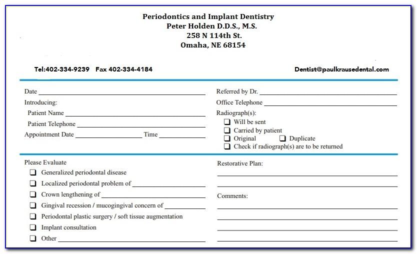 Universal Orthodontic Referral Form