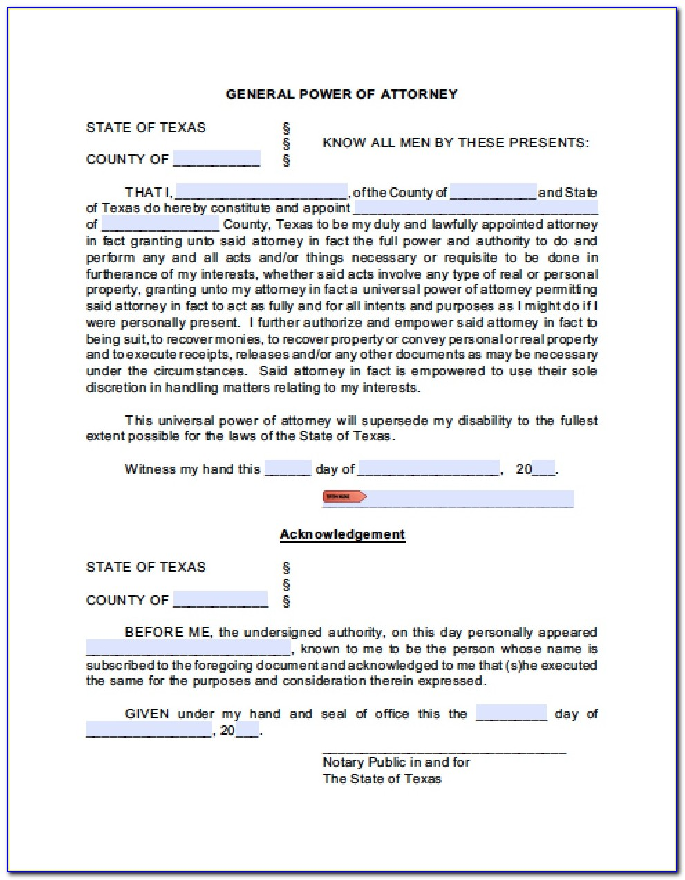 Universal Power Of Attorney Form
