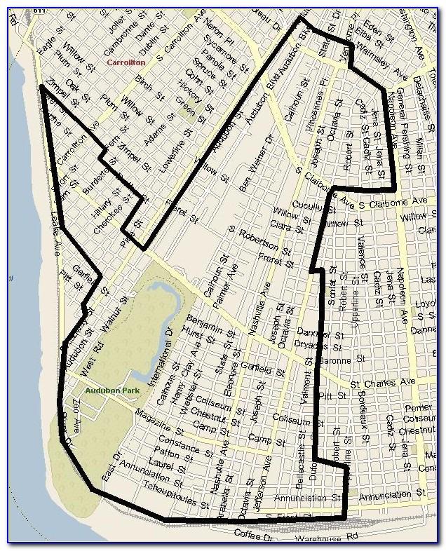 Uptown New Orleans Zip Code Map