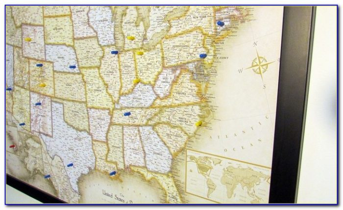 Us And World Magnetic Pin Travel Maps