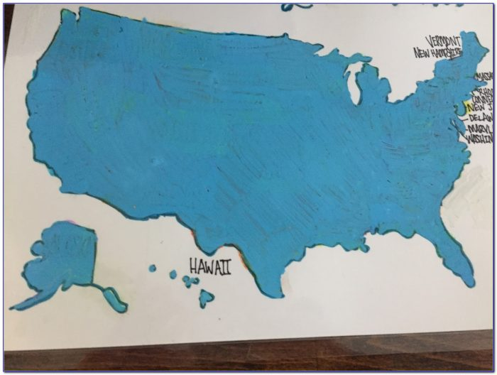 Usa Watercolor Scratch Map
