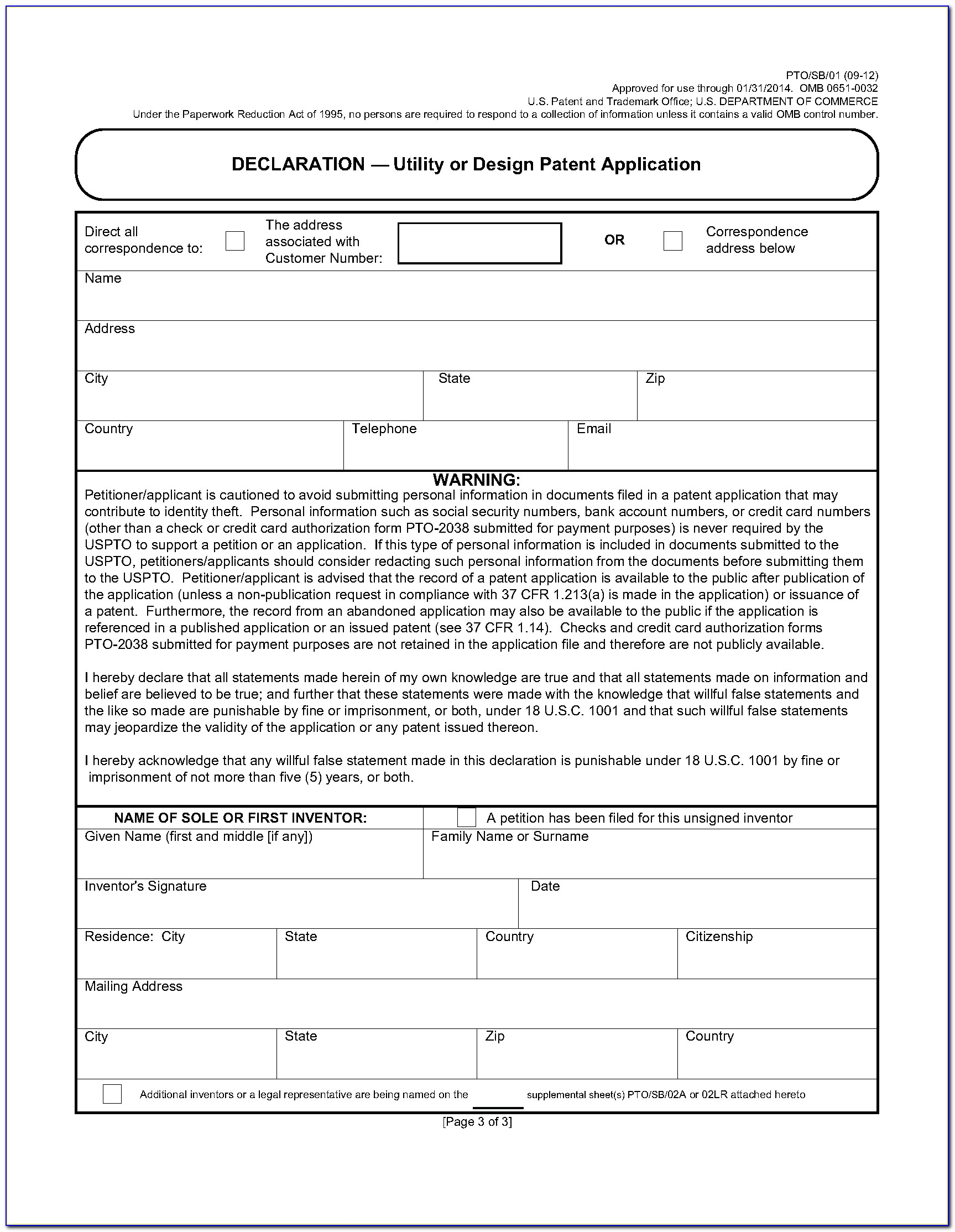 Utility Patent Application Format