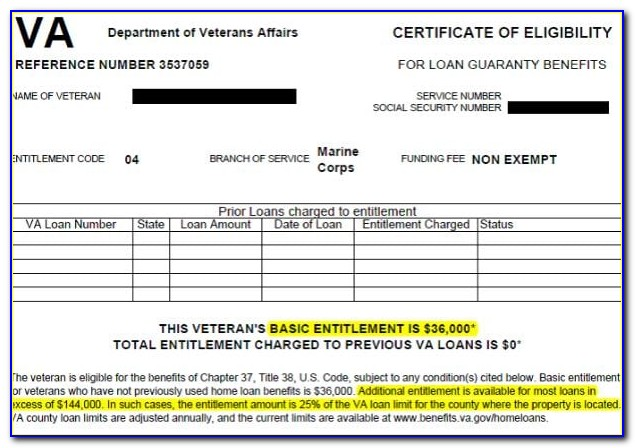 Va Home Loan Certificate Of Eligibility Form