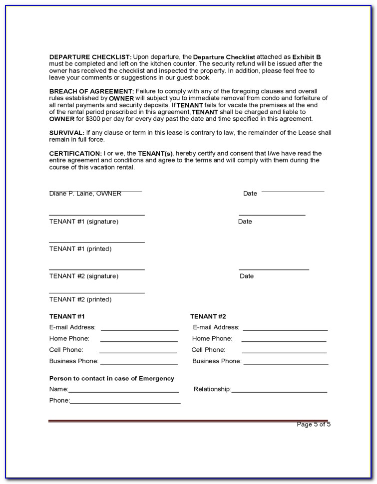 Vacation Rental Agreement Forms Free