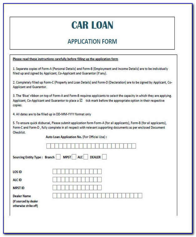 Vehicle Loan Agreement Form